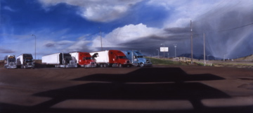 A Pack of Resting Semis (Flying J parking lot off I-90 Rocker, Montana) / oil on board / 19×42″ / Sold