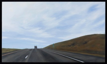 Alone at 262 (Mile marker 262 on I-90, Montana) / oil on board / 10×17″ / Sold