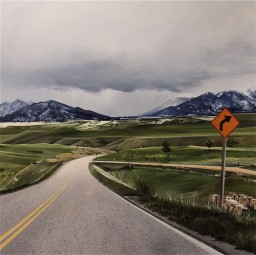 Following a Beaten Path (Almost to Roscoe, Montana) / oil on board / 14×14″ / Sold