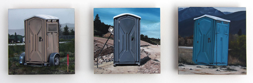 Can't a Guy Take a Leak in the Woods Anymore? (1-Missoula, MT; 2-in-between Absarokee and Columbus, MT; 3-outside Florence, MT) / oil on board / triptych / 5×15″ / Sold