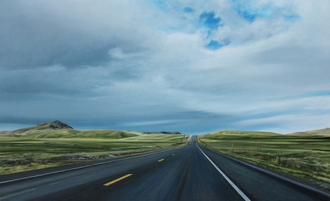 Any Minute...Man (Highway 200 in between Lincoln and Great Falls, Montana) / oil on board / 36×22″ / Sold