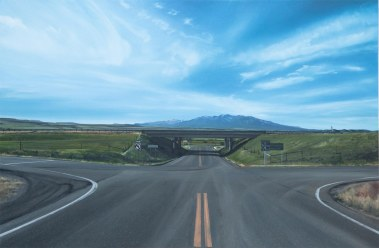Crazy Overpass (I-90 West of Big Timber, Montana) / oil on board / 16×24″ / Sold