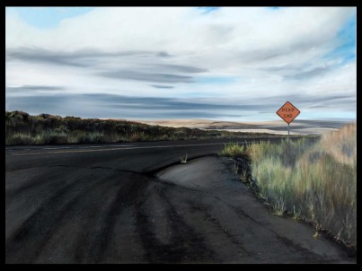 Dead End on Coffin Road (North of the Tri-Cities on Hwy 395, Washington) / oil on board / 15×20″ / Sold