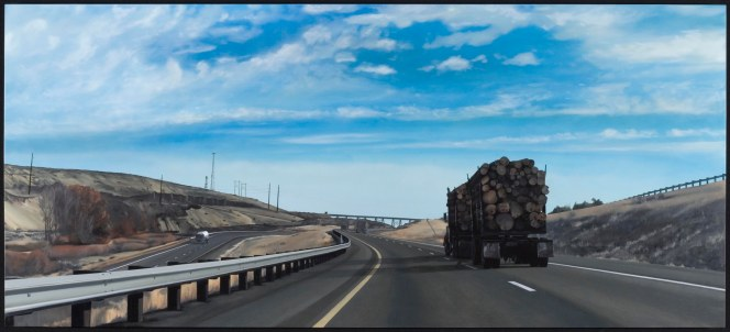 Forest on Wheels (I-90, Heading East in Eastern Washington) / oil on board / 21.5×48″ / Sold