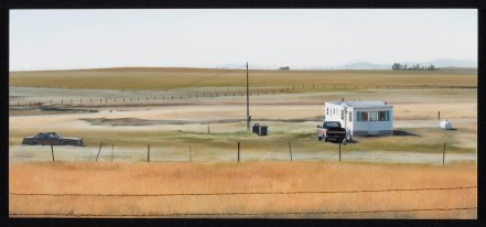 Homestead with Guard Dogs (Near Augusta, Montana on Hwy 287) / oil on board / 10.5×23″ / Sold