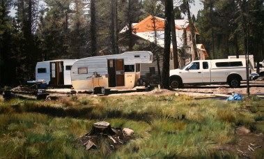 I'm Sick of Camping (Seeley Lake, Montana) / oil on board / 14.5×24″ / Sold