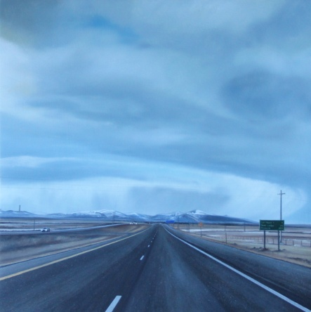 Landscape with an Erection (Anaconda, Montana) / oil on board / 14×14″ / Sold
