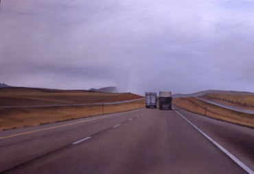Observing Wildlife (I-90 near Springdale, Montana) / oil on board / 14×20″ / Sold