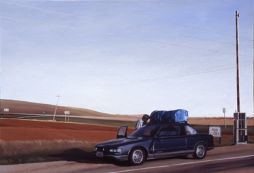 Ode to Slick, the Cutlass in her Prime (Highway 32 outside Tetonia, Idaho) / oil on board / 14×20″ / NFS