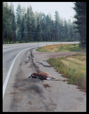 Oh Deer (Somewhere between Bonner and Seeley Lake on Hwy 200, Montana) / oil on board / 15×20″ / Sold