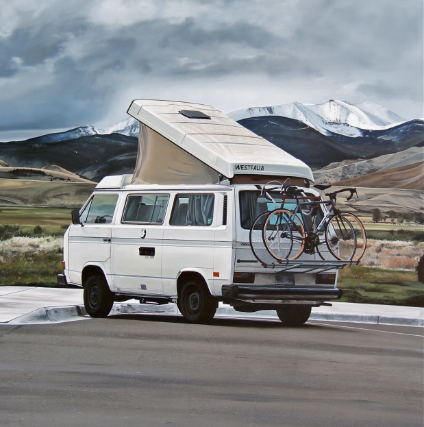 Park and Ride (Anaconda, Montana) / oil on board / 24×24″ / Sold