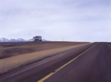 Pit Stop (Eastbound looking at the Westbound just outside Livingston, Montana) / oil on board / 13.5×17″ / Sold