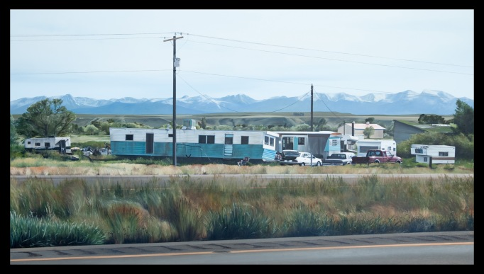 Prime Habitat (Trailers along I-90 West of Logan, Montana) / oil on board / 20×36″ / Sold