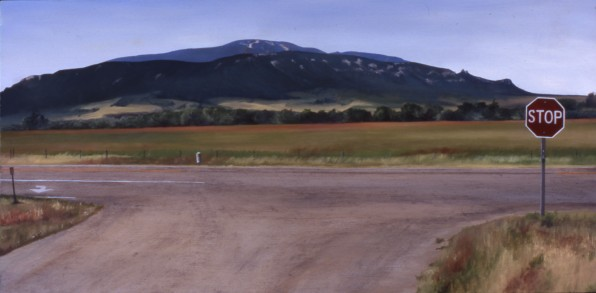Red Lodge Mountain (Hwy 78 Red Lodge, Montana) / oil on board / 9×18″ / Sold