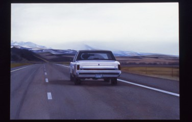 Riding the Range (Westbound in I-90 near Springdale, Montana) / oil on board / 14×20″ / Sold