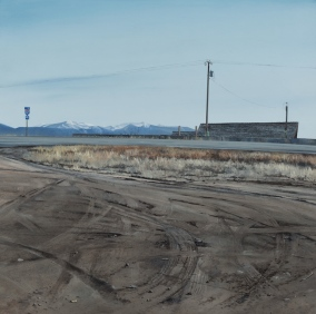 Scenic Pullout (off I-90 Logan, Montana) / oil on board / 14×14″ / $2000