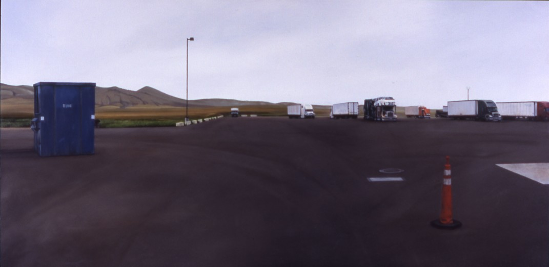 The Last Best Campsite (Town Pump parking lot in Three Forks, Montana) / oil on board / 12.5×26″ / Sold