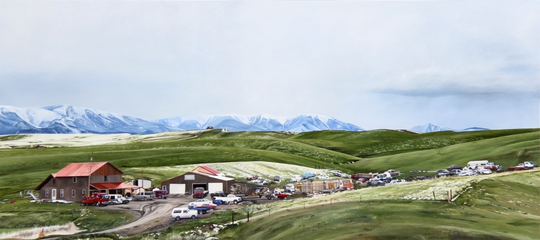 We Might Need That Some Day (Highway 78 Luther, Montana) / oil on board / 35×18″ / Sold